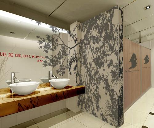 Une signal tique pour une galerie marchande et sanitaire adh sif peinture m - Design peinture murale ...